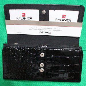 Mundi File Master Black Organizer Wallet NWT